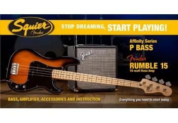 Squier Stop Dreaming Start Playing Set Affinity Precision Bass Fender Rumble 15 Brown Sunburst - Maple - Bas Gitar Seti
