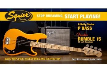 Squier Stop Dreaming Start Playing Set Affinity Precision Bass Fender Rumble 15 Butterscotch Blonde - Maple