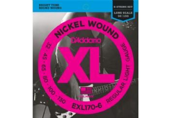 D'Addario EXL170-6 Nickel Wound 6-String Bass, Light, 32-130, Long Scale Takım Tel - 6 Telli Bas Gitar Teli 032-130