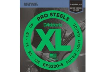 D'Addario EPS220-5 ProSteels 5-String Bass, Super Light, 40-125, Long Scale Takım Tel - 5 Telli Bas Gitar Teli 040-125