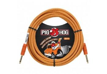 Pig Hog PCH20CC Vintage-Series Woven Instrument Cable Orange Cream - Enstruman Kablosu (6 mt)