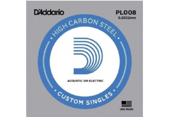 D'Addario Acoustic or Electric Plain Stell Singles .008 - PL008 - Elektro ve Akustik Gitar Tek Tel