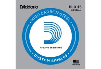 D'Addario Acoustic or Electric Plain Stell Singles .0115 - PL0115 - Elektro ve Akustik Gitar Tek Tel