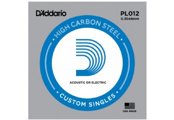 D'Addario Acoustic or Electric Plain Stell Singles .012 - PL012