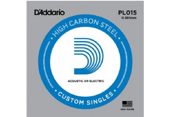 D'Addario Acoustic or Electric Plain Stell Singles .015 - PL015