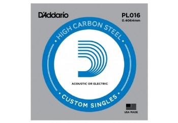 D'Addario Acoustic or Electric Plain Stell Singles .016 - PL016
