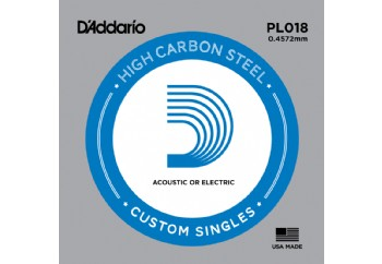 D'Addario Acoustic or Electric Plain Stell Singles .018 - PL018