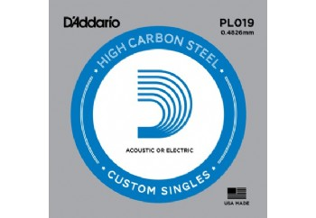 D'Addario Acoustic or Electric Plain Stell Singles .019 - PL019