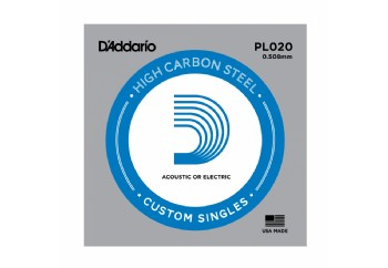 D'Addario Acoustic or Electric Plain Stell Singles .020 - PL020 - Elektro ve Akustik Gitar Tek Tel