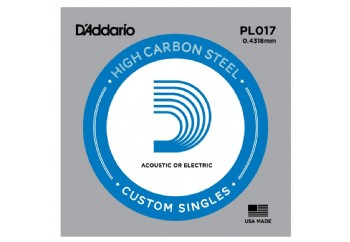 D'Addario Acoustic or Electric Plain Stell Singles .017 - PL017