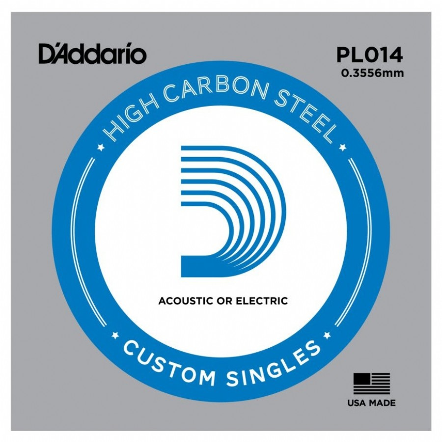 D'Addario Acoustic or Electric Plain Stell Singles