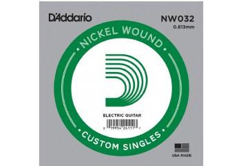 D'Addario Acoustic or Electric Nickel Wound Singles .032 - Elektro ve Akustik Gitar Tek Tel