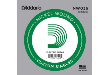D'Addario Acoustic or Electric Nickel Wound Singles .036 - Elektro ve Akustik Gitar Tek Tel
