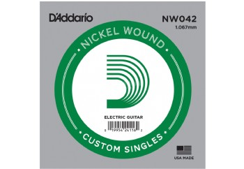 D'Addario Acoustic or Electric Nickel Wound Singles .042 - Elektro ve Akustik Gitar Tek Tel