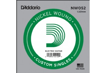 D'Addario Acoustic or Electric Nickel Wound Singles .052 - Elektro ve Akustik Gitar Tek Tel