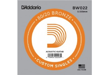 D'Addario Acoustic Guitar 80/20 Bronze Single .022 - BW022 - Akustik Gitar Tek Tel