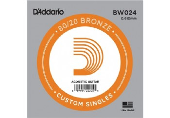 D'Addario Acoustic Guitar 80/20 Bronze Single .024 - BW024 - Akustik Gitar Tek Tel