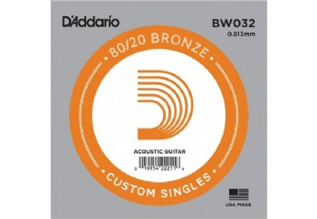 D'Addario Acoustic Guitar 80/20 Bronze Single .032 - BW032 - Akustik Gitar Tek Tel