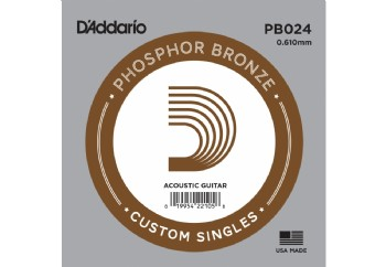 D'Addario Acoustic Guitar Phosphor Bronze Single .024 - PB024 - Akustik Gitar Tek Tel