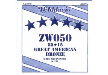 D'Addario Acoustic Guitar 85/15 Bronze Single .050 - ZW050 - Akustik Gitar Tek Tel