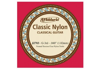 D'Addario Classic Nylon Normal Tension Clear Nyl Treble sol - J2703 - Klasik Gitar Tek Tel (Sarımsız)
