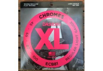 D'Addario ECB81 Chromes Bass, Light, 45-100, Long Scale - Fırsat Reyonu Takım Tel