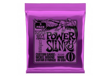 Ernie Ball 3220 Power Slinky Nickel Wound Electric Guitar Strings - Elektro Gitar Teli 011 (3 Set)