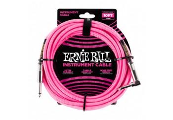 Ernie Ball Neon Pink Braided Straight / Angle Instrument Cable P06078 - (3 metre) - Enstrüman Kablosu