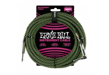 Ernie Ball Black / Green Braided Straight / Angle Instrument Cable P06077 - (3.05 metre) - Enstrüman Kablosu