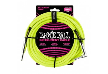 Ernie Ball Neon - Yellow Braided Straight / Angle Instrument Cable P06085 - (5.49 metre) - Enstrüman Kablosu