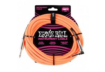 Ernie Ball P06079  Braided Straight / Angle Instrument Cable Neon Orange (3.05 metre) - Enstrüman Kablosu