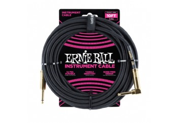 Ernie Ball P06081 Braided Straight / Angle Instrument Cable Black (3.05 metre) - Enstrüman Kablosu