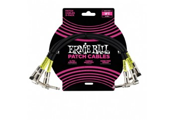 Ernie Ball 6075 1 feet Black Right Angled Patch Cable 3 Pack - Pedal Ara Kablosu (30 cm)