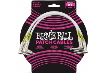 Ernie Ball 6055 1 Feet Angle/Angle Patch Cable, 3-Pack - Pedal Ara Kablosu (30 cm)