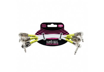 Ernie Ball 6052 White Right Angled Pancake Patch Cable, 3 Pack - Pedal Ara Kablosu (15 cm)