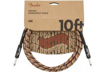 Fender Festival Hemp Instrument Cables 3 metre - Rainbow - Enstrüman Kablosu