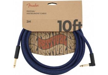 Fender Festival Hemp Instrument Cables 3 metre açılı - Blue Dream - Enstrüman Kablosu