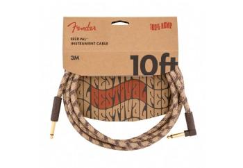 Fender Festival Hemp Instrument Cables 3 metre açılı - Brown Stripe - Enstrüman Kablosu