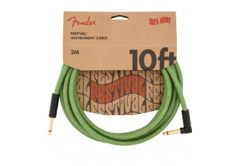 Fender Festival Hemp Instrument Cables 3 metre açılı - Green - Enstrüman Kablosu