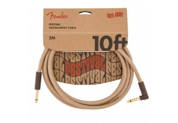 Fender Festival Hemp Instrument Cables 3 metre açılı - Natural - Enstrüman Kablosu