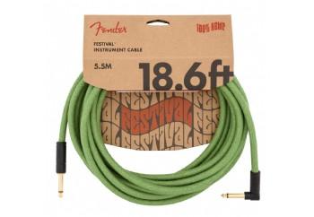 Fender Festival Hemp Instrument Cables 5.5 metre açılı - Green - Enstrüman Kablosu