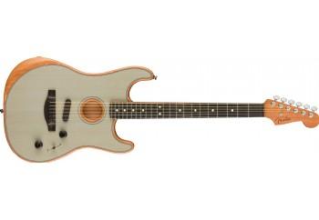 Fender American Acoustasonic Stratocaster Transparent Sonic Blue - Ebony - Elektro Akustik Gitar