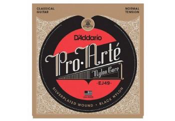 D'Addario EJ49 Pro-Arté Black Nylon, Normal Tension Takım Tel - Klasik Gitar Teli
