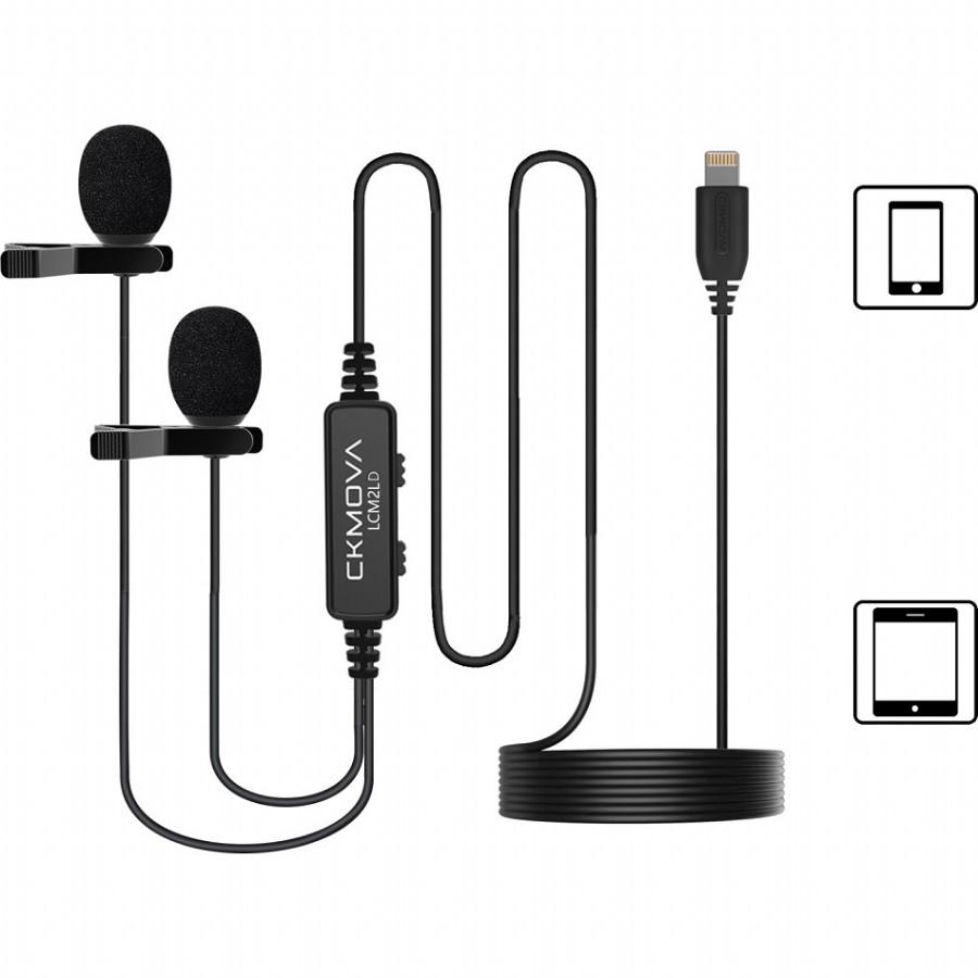 CKMOVA LCM2LD Dual-Head Lavalier Microphone for iOS Lightning Devices