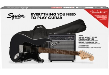 Squier Affinity Strat HSS LRL CFM Frontman 15G Set Charcoal Frost Metallic - Elektro Gitar Seti