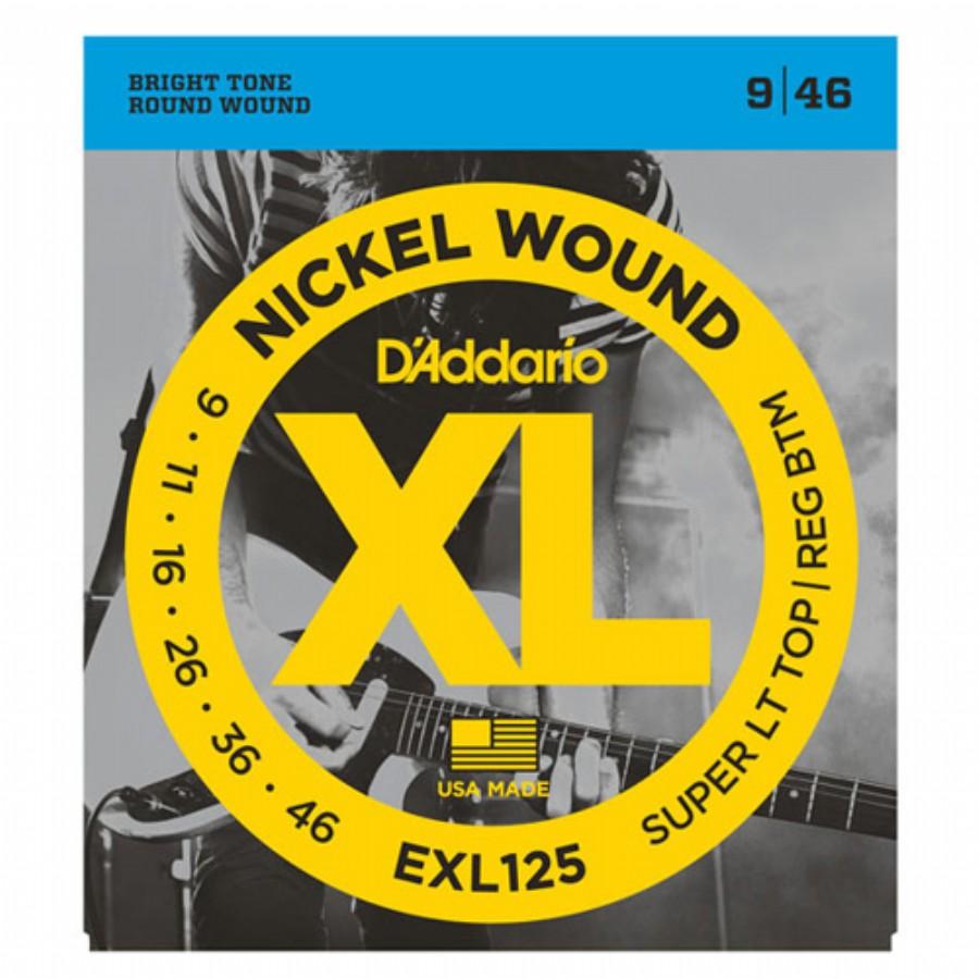 D'Addario EXL125 Nickel Wound, Super Light Top/ Regular Bottom, 9-46