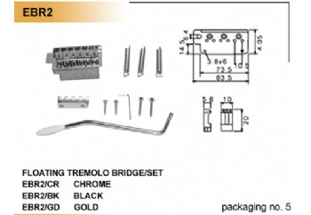 Dr. Parts EBR2 Tremolo Bridge/Set BK (Black) - Elektro Gitar Köprüsü
