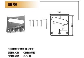 Dr.Parts EBR6/CR Krom - Elektro Gitar Köprüsü