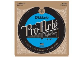 D'Addario EJ50 Pro-Arté Black Nylon, Hard Tension Takım Tel - Klasik Gitar Teli