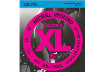 D'Addario EXL170SL Nickel Wound Bass, Light, 45-100, Super Long Scale Takım Tel - Bas gitar teli 045-100